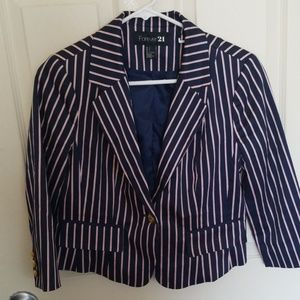 Blue pink and white pin stripe blazer. NWOT